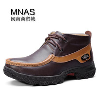 Male boots trend boots winter thermal Men high snow boots leather male genuine leather coffee