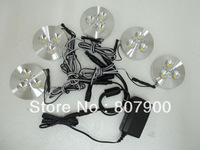 NEW 5pcs 12V DC 3W LED Puck/Cabinet Light,LED spotlight+35cm connect wire +12v 1a power