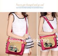 DERSNew female angel circus Messenger bag diagonal package female bag cartoon stitching