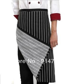 Hotel Chef Kitchen Bar Restaurant Waiter Work Uniform Han Edition Men's and Women's Black and White Apron