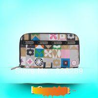 Free shipping 2013 lesports new fashion long folded zip wallet
