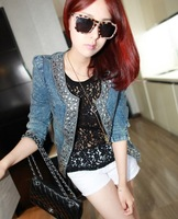 9082 New  womens vintage rhinestone elastic denim paillette long sleeve outerwear top caot jacket