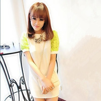 2013 summer slim female short skirt chiffon lace decoration lantern short-sleeve  evening dresses 004