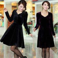 2014 Autumn winter quality fashion plus size velvet one-piece dress long-sleeve 5XL 4XL XXXXL  XXXL Black women's female EZZ194