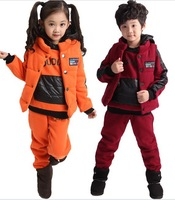Wholesale - Autumn and Winter children's Sports Fleece Hoodies Coat+Vest+Pants Tracksuit 3pcs Sweat Suit