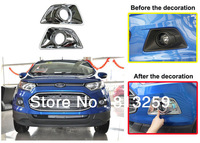 For Ford Ecosport ABS chrome whole coverage Front Fog Light Cover trim 2Pcs