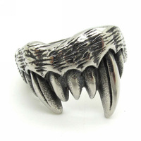 Cool Men's Animal Sharp Teeth Creepy Stainless Steel Finger Ring Free Shipping High Quality Jewelry Best Price