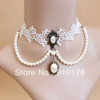 gothic lolita bride white lace choker necklaces fashion false collar necklace fashion wedding accessory