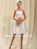 FREE SHIPPINGA A STRAPLESS BATEAU NECKLINE COVERED LACE KNEE LENGTH  BRIDESMAID DRESS 2014