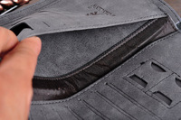 Good Quality Brand Gray Genuine Leather wallet Men purse long Casual style for Business Men