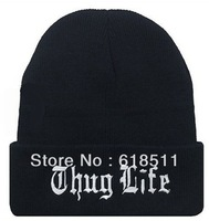 Free shipping-NEW COMPTON!! THUG LIFE Black Beanie,SKULL winter hats,20Pcs/Lot