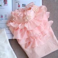 Medium-large 2013 clothing spring and autumn 100% cotton long-sleeve ruffle beaded lace princess shirt long johns t