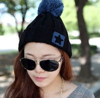 2013 new roll-up hem ultralarge bulb Pentagram wool knitted hat Winter Women accessories five-pointed star pompon Beanie W6
