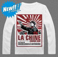 Wool chairman long-sleeve T-shirt male 100% cotton basic shirt red