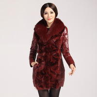 2013 leather clothing female sheepskin wool one piece genuine leather women's medium-long down coat fox fur outerwear