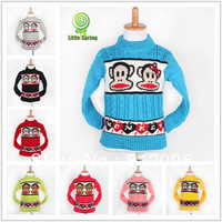 Baby Cartoon monkey sweater Kids cute pullovers Autumn/Winter cool tops Baby clothes Sweaters Little Spring GLZ-S0193