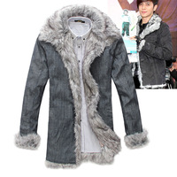 Male denim wadded jacket fashion thickening cotton-padded jacket plus size outerwear