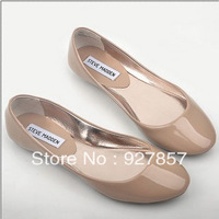 Fashion nude color shallow mouth round toe japanned leather flat comfortable single steve madden shoes Free shipping