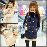 2014 rabbit fur double breasted woolen outerwear female medium-long wool coat 242