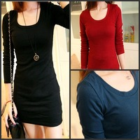 2013 autumn and winter thickening stretch cotton slim medium-long long-sleeve T-shirt 517 basic shirt