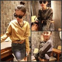 Female clothing batwing sleeve loose drawstring short design fleece sweatshirt 712