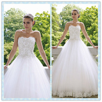 Hot selling lace and tulle ball gown wedding dresses for pregnant women