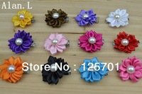 "WHOLESALE LOT 100PC 1.5"" CUTE PEARL DAISY  FLOWERS  HAIR CLIP BOWS INFANT TODDLER NEWBORN BABY GIRL FREE SHIPPING AF01"