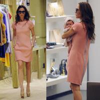 Free Shipping 2014 New Fashion Summer Victoria Beckham dress women casual knee-length  OL style zipper Pink dresses