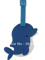 High Quality,Travel Luggage Tag with Name Label Cute Animal Design Soft PVC 3D Luggage Tag,Travel Tag,school bag tag(dolphin)