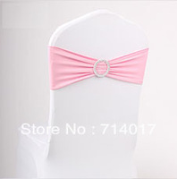 Best selling 100 Pieces Pink Wedding Lycra Chair Cover band with Buckle and diamond Spandex band