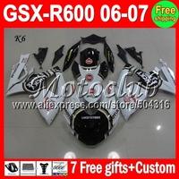 7gifts+Cowl Not racing redOf K6 06 07 SUZUKI GSXR600 GSXR-600 C#3670 GSX-R600 GSXR 600 Lucky Strike 2006 2007 HOT Fairing Body