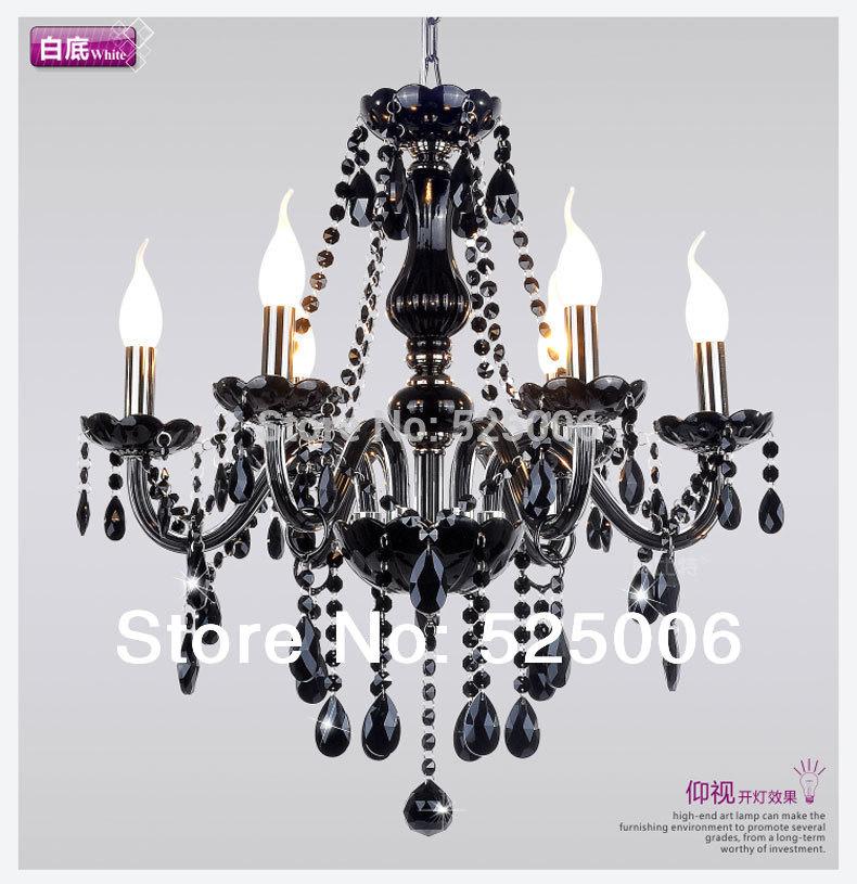 نجف تحفه اسود كرستال Euopean-style-6-Bulbs-BLACK-VINTAGE-GLASS-CRYSTAL-CHANDELIER-light-6-ARM-LIGHTS-E14-Crystal-Pendant