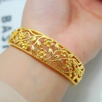 Exquisite copper cutout flower gold plated bracelet alluvial gold bridal wedding accessories