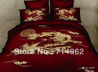 New Beautiful 4PC 100% Cotton Comforter Duvet Doona Cover Sets FULL / QUEEN / KING SIZE bedding set 4pcs  red chinese dargon
