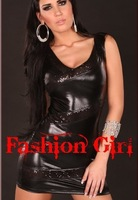 Europe and the United States sexy black faux leather dress performance fashionable dress DS nightclub dress