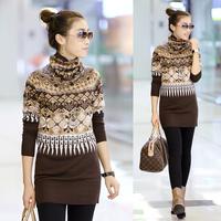 Sweater female turtleneck autumn and winter thickening 2013 women's long design slim knitted basic shirt long-sleeve slim hip