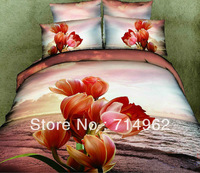 New Beautiful 4PC 100% Cotton Comforter Duvet Doona Cover Sets FULL / QUEEN / KING SIZE bedding set 4pcs red orange flower