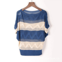 Free Shipping 2014 New Fashion Short Sleeve Casual Large & Loose Blouse Hollow Out Hole Pullover Jumpers Knitwear Sweater Tops