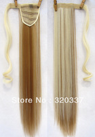 Celebs Wrap Around Clip In Ponytail Hair Extension Ribbon Ponytail Extensions #27/613 Brown Blonde Clip in on Hair Extensions