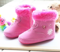 New fashion 2013 winter comfortable warm girls baby snow boots 13cm 14cm children pink zipper toddler footwear plush shoes  S