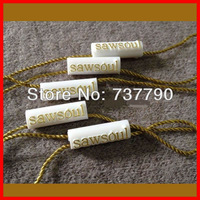 custom printed clothes seal hang tag /plastic tag with string
