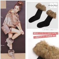 foot wrapping sets long fur roll up hem boot covers shoes cover snow socks  autumn and winter ankle sock female