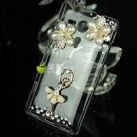 Elegant Ballet Dancer Bling Crystal Pearl Hard Cover Case For SONY Xperia SP M35h