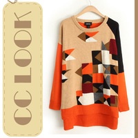 2013 Autumn Fashion Designer Korean Cardigan Geometric Multicolour Orange Patchwork Long Sleeve Medium-long Loose Sweater Women