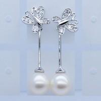 Free shipping  Butterfly Earrings 925 Sterling Silver Pearl Earrings Girls Earrings Birthday Gift