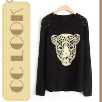 2013 Autumn Winter New Fashion American Cute Christmas Black Rivet Animal Leopard Head Print Pattern Pullover Knit Sweater Women