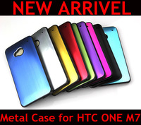 Colorful Ultra Thin Brushed Aluminum Case for HTC One M7, Solid Metal+Black PC Hard Back Cover, 50pcs/lot