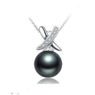 Free shipping promotion price fashionable black pearl pendant necklaces ladies pendants jewellery factory price 1pcs/lot(China (Mainland))