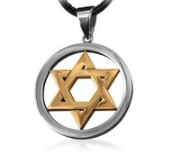Wholesal New  Mogen David Star Necklace Shield of David Magic Hexagram Necklace Pendant Free With Chain - Titanium Steel