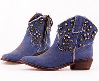Fashion black label high quality rivet rhinestone western vintage denim boots female boots